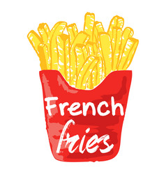 French fries sticker vector