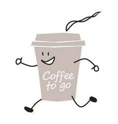 funny coffee to go character vector image