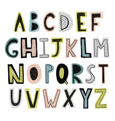 funny hand drawn alphabet vector image