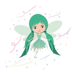 Girly fairy flying with wings and pigtails vector