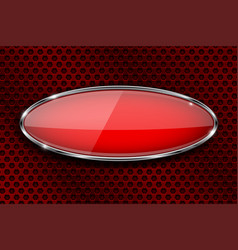 Glass red button on metal perforated background vector