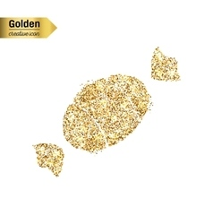 Gold glitter icon of sweet isolated on vector