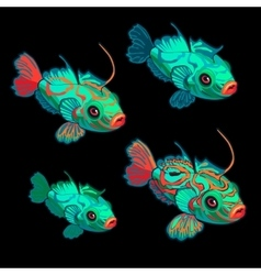 Green-red tropical fish four icon cartoon vector image