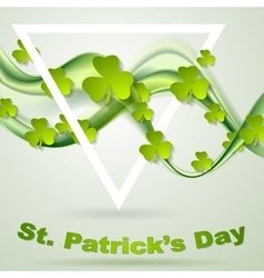 Green smooth waves and clovers shamrocks vector