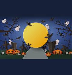 halloween banner template dark night with big vector image