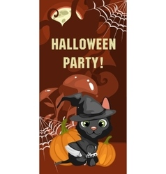 Halloween party card with cat vector image