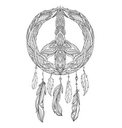 Hand drawn boho of dream catcher with vector