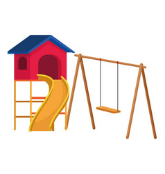 house with swing playground game vector image