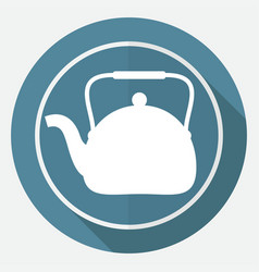 icon tea maker on white circle with a long shadow vector image