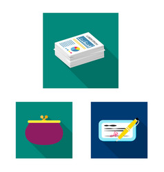 isolated object of bank and money icon collection vector image