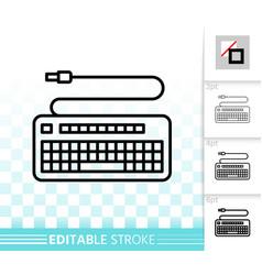 keyboard simple black line icon vector image