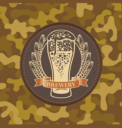 label for craft beer on camouflage background vector image