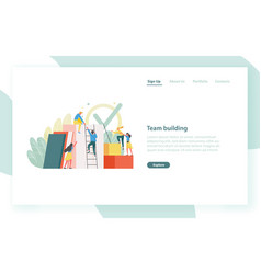 landing page template with group of clerks vector image