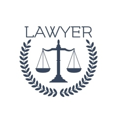 Lawyer icon justice scales laurel wreath emblem vector