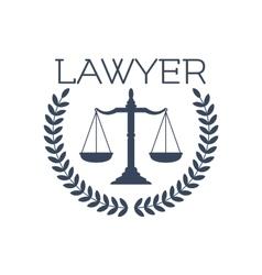 Lawyer icon justice scales laurel wreath emblem vector