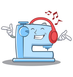 Listening music sewing machine emoticon character vector