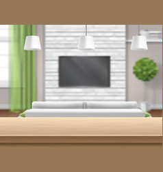 living room with sofa tv and wooden bar table vector image