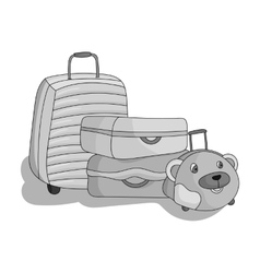 Luggage icon in monochrome style isolated on white vector