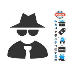 Mafia boss icon with free bonus vector