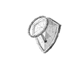 magnifying on knight shield low-poly vector image