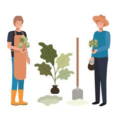 Men gardeners smiling avatar character vector