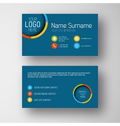 Modern blue business card template with flat user vector image