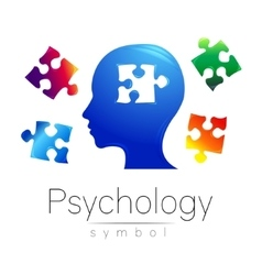 Modern head Logo sign of Psychology Puzzle vector