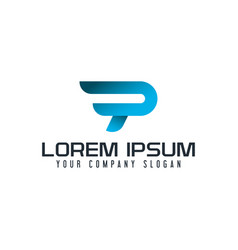 modern letter p logo fast speed design concept vector image