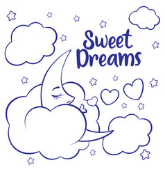 Moon clouds and stars sweet dreams wallpaper vector