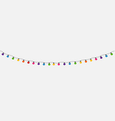 Multicolored garland lamp bulbs festive background vector