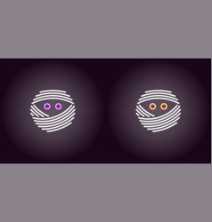 Neon mummy face in white color vector