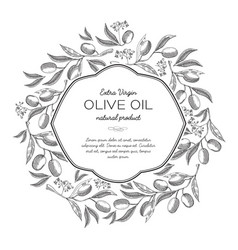 Olive oil round wreath sketch composition vector