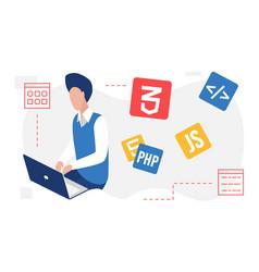 People developer create code programming web vector