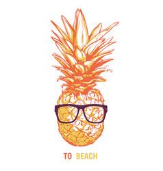 Pineapple in sunglasses vector