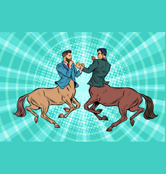 Pop art two centaur businessmen fighting vector