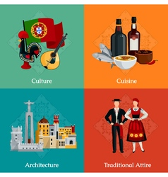 Portugal 2x2 Flat Icons Set vector image