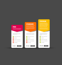 Product service price comparison cards vector
