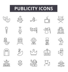 Publicity line icons signs set outline vector