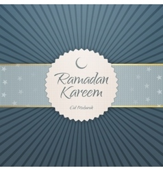 Ramadan Kareem Eid Mubarak paper Emblem vector