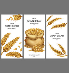 realistic sack with grains wheat ears vector image