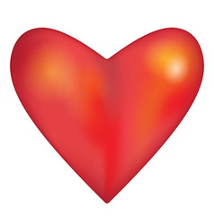 Red glossy shiny three-dimensional heart on white vector image