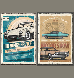 Retro cars tuning service vintage motor show vector