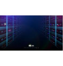 server room interior concept big data network vector image