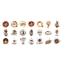 set coffee logos on white vector image