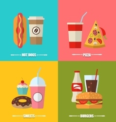 Set fast food hotdog cola flat icons vector image
