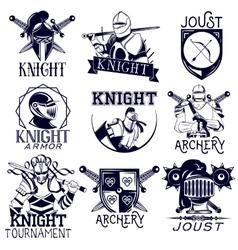 set heraldic knight labels in vintage vector image