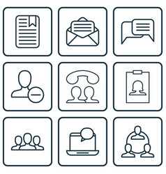 set of 9 communication icons includes speaking vector image