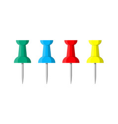 set of color push pins plastic pushpin vector image