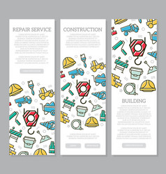 Set of three digital construction vertical banners vector
