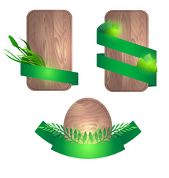 Set of wooden boards with green ribbons and vector